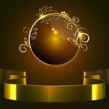 Vector, rond glanzend etiket met een gouden rand en gouden glanzend lint Royalty-vrije Stock Afbeeldingen