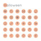 Vector Ronde Halloween-Pictogrammen Stock Afbeeldingen