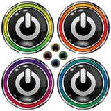 Vector ronde knoop met het pictogram van de computermacht Stock Foto's