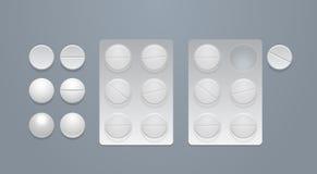 Vector ronde pillen en blaarpakken Stock Fotografie