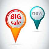 Vector Ronde wijzer - knoop voor grote verkoop en nieuw Royalty-vrije Stock Afbeeldingen