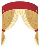 Vector rood en gouden gordijn Royalty-vrije Stock Afbeeldingen