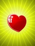 Vector rood glanzend hart Royalty-vrije Stock Afbeeldingen