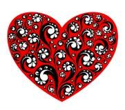 Vector rood hart met het decoratieve schilderen Royalty-vrije Stock Afbeeldingen