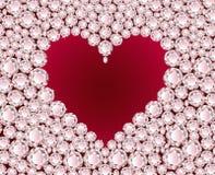 Vector rood hart op diamantachtergrond Royalty-vrije Stock Afbeeldingen