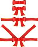 Vector rood lint met boog Royalty-vrije Stock Fotografie