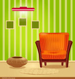 Vector room with green wallpaper Stock Image