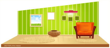 Vector room with green wallpaper Stock Images