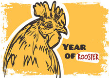 Vector rooster art. Symbol of year 2017 on grunge background. Royalty Free Stock Images