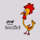 Vector rooster background for Chinese New Year 2017. Cartoon rooster background. Chinese New Year 2017 concept. Vector illustration Royalty Free Stock Photography