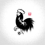 Vector: rooster with brushwork style Stock Photo