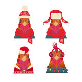 Vector Rooster Head set. Cartoon style, in winter, christmas clothing