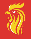 Vector Rooster Head. Symbol on red background Royalty Free Stock Photography