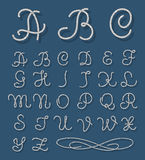 Vector rope font. Nautical alphabet ropes hand drawn letters Royalty Free Stock Photography
