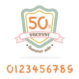 Vector : Rope sale badge logo,Bonus : 0-9 number for made sale p Royalty Free Stock Photos