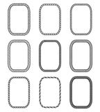 Vector rope set of rectangular frames  in marine style. Vector rope set of rectangular frames. Collection of thick and thin borders isolated on white background Royalty Free Stock Image
