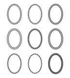 Vector rope set of thick and thin oval frames. Vector rope set of oval frames. Collection of thick and thin borders isolated on white background, consisting of Royalty Free Stock Photo