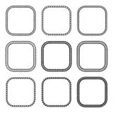 Vector rope set of thick and thin square frames. Vector rope set of square frames. Collection of thick and thin borders isolated on white background, consisting Stock Images