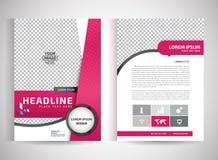 Vector rosado de la plantilla del diseño del aviador del folleto del informe anual, fondo plano del extracto de la presentación d Imagen de archivo libre de regalías