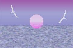 Vector rosado de la puesta del sol