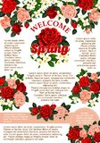 Vector rose flowers poster for spring season Royalty Free Stock Photo
