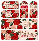 Vector rose flowers tags for spring season sale. Spring sale discount shopping tags set for springtime holiday store promotion. Vector icons set of roses flowers Stock Photography