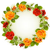 Vector rose frame in the shape of circle Stock Photos