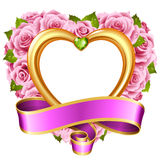 Vector rose frame in the shape of heart  on white background Stock Image