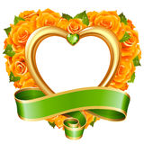 Vector rose frame in the shape of heart  on white background Royalty Free Stock Photos