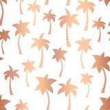 Vector rose gold foil palm trees summer seamless pattern background. Metallic copper foil palm trees. Elegant luxurious design for. Vector copper foil palm trees stock illustration