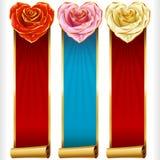 Vector Rose Hearts e as bandeiras verticais das fitas do redemoinho ajustadas Imagens de Stock