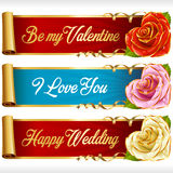 Vector Rose Hearts and Swirl Ribbons horizontal Banners set. Cute Rose Hearts and Swirl Ribbons horizontal Banners set. Red, pink, white flowers and golden Royalty Free Stock Image