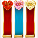 Vector Rose Hearts and Swirl Ribbons vertical Banners set Stock Images