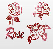 Vector Rose . icons .tattoo . Stock Photos