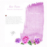 Vector rose with leaves on violet spot on white background Royalty Free Stock Photos