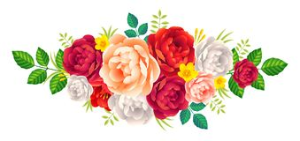 Vector rose and peonies flowers bouquet vintage romantic decoration on white background Stock Image