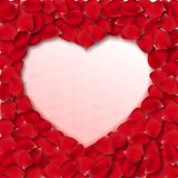 Vector rose petal heart shape frame Stock Images