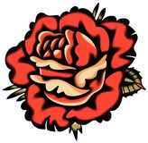 Vector Rose Tattoo Style roja stock de ilustración