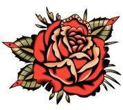 Vector Rose Tattoo Style roja Fondo de Vhite libre illustration