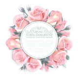 Vector Rose wreath. Template for wedding invitation, greeting card, banner, gift voucher for womans, etc. Quality Stock Image