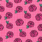 Vector Roses on a checkered seamless pattern. Concept texture about hand made fabric background. vector illustration