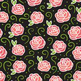 Vector Roses on dark seamless texture pattern. Hand drawing flowers with green curls. royalty free illustration