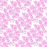 Vector Roses and lavender flowers hand drawn seamless pattern. Pink isolated on white background. royalty free illustration