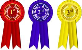 Vector Rosettes and Ribbons. 1st - 2nd -3rd place stock illustration