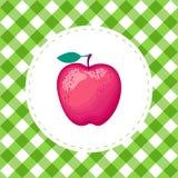 Vector rote Farbe Apples auf nahtlosem Musterhintergrund des Zellgrüns Vektor Abbildung