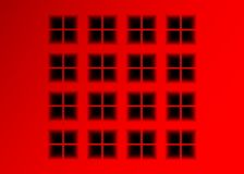 Vector roten Hintergrund mit versunkenen quadratischen Fenstern, Kunst Infographic-Design mit geometrischer Zahl des roten Obtrus vektor abbildung