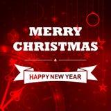 Vector roten Weihnachtshintergrund mit Uhr, Weihnachtsdekoration und Lichtern Lizenzfreie Stockfotografie