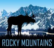Vector rotsachtig bergenmeer met Amerikaanse elanden vector illustratie