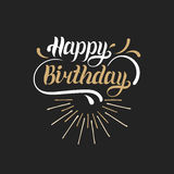 Vector a rotulação da mão do feliz aniversario para o cartão do cumprimento ou do convite Fundo do dia natal Cartaz da tipografia Imagens de Stock Royalty Free