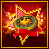 Vector roulette wheel on red background. With ribbon Stock Photo